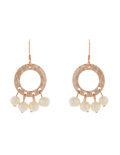 Elly Lou Ring Of Life Earrings - Pearl/Rose Gold - Mocha