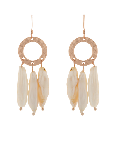 Elly Lou Ring Of Life Pearl Drop Earrings - Rose Gold - Mocha