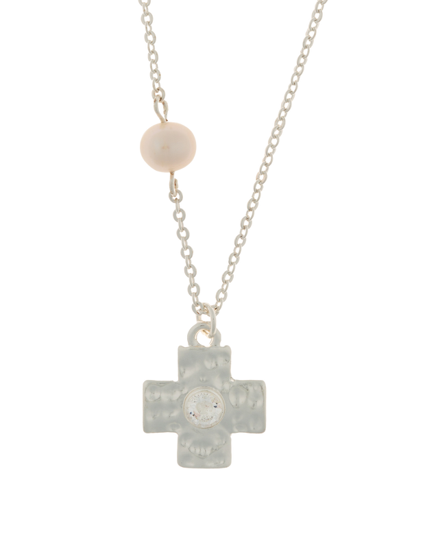 Elly Lou Cross Necklace w/ Cubic Zirconia - Silver - Mocha
