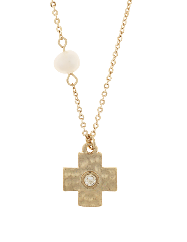 Elly Lou Cross Necklace w/ Cubic Zirconia - Light Gold - Mocha