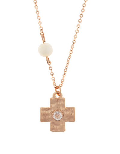Elly Lou Cross Necklace w/ Cubic Zirconia - Rose Gold - Mocha