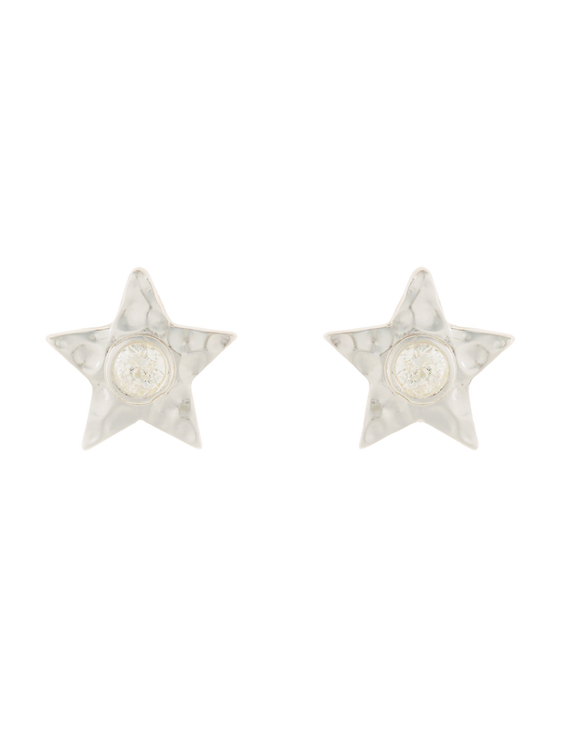 Elly Lou Star Stud Earrings w/ Cubic Zirconia - Silver - Mocha