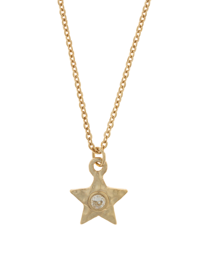Elly Lou Star Necklace w/ Cubic Zirconia - Light Gold - Mocha