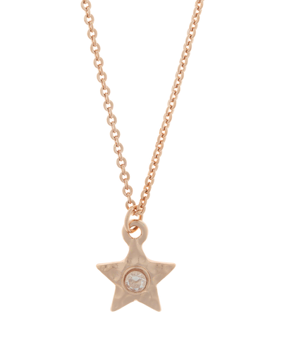Elly Lou Star Necklace w/ Cubic Zirconia - Rose Gold - Mocha