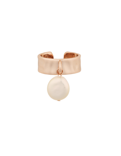 Elly Lou Pearl Drop Ring w/ Cubic Zirconia - Rose Gold - Mocha