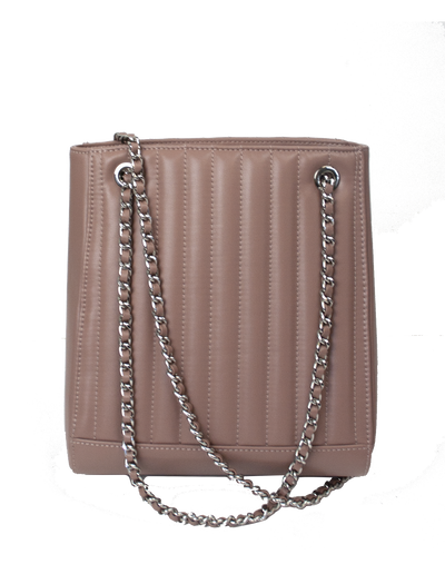 Mocha Paris Quilted Leather Shoulder Bag - Mauve - Mocha