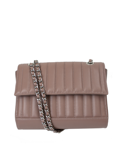Mocha Paris Quilted Leather Fold-Over Crossbody - Mauve - Mocha