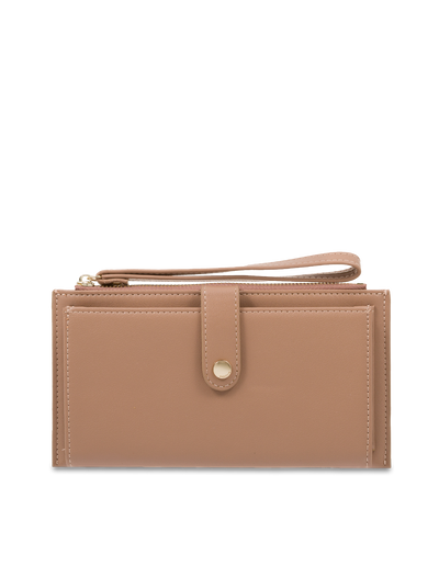 Mocha Simple Clip Clutch - Taupe - Mocha