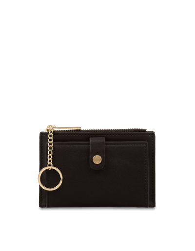 Mocha Simple Clip Coin Wallet - Black - Mocha