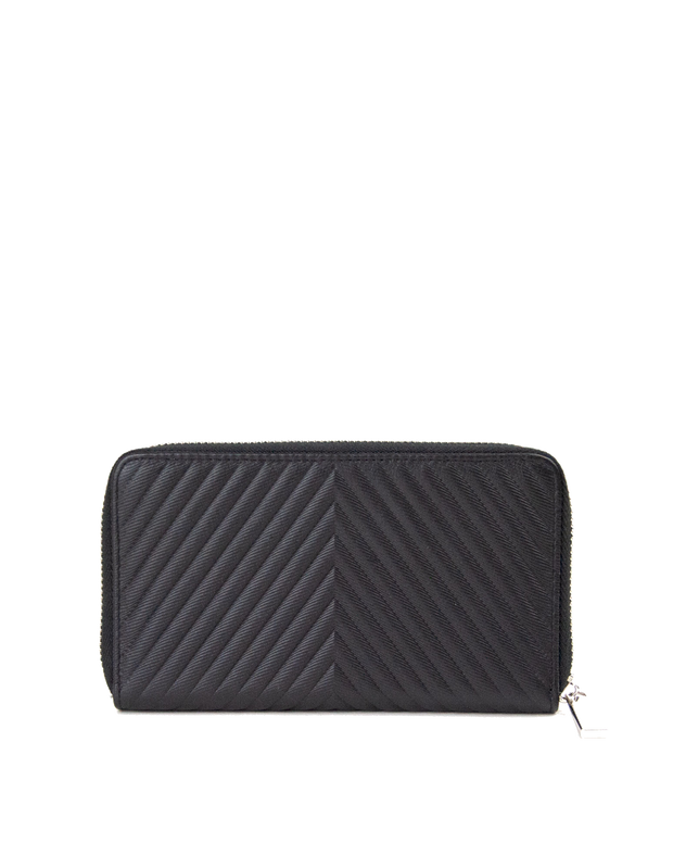 Mocha Small Chevron Leather Wallet - Black/Silver - Mocha