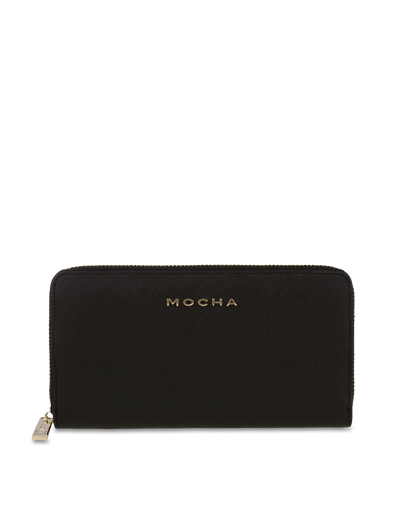 Mocha Kristi Leather Wallet - Black/Light Gold - Mocha