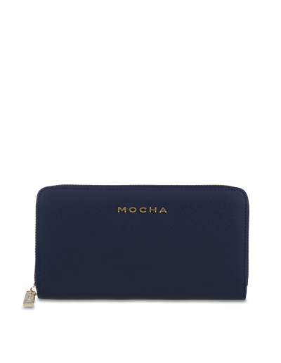 Mocha Kristi Leather Wallet - Navy/Light Gold - Mocha
