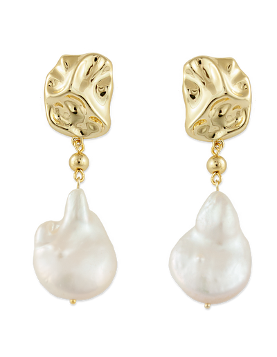 Bianc Rockpool Pearl Earrings - Gold - Mocha