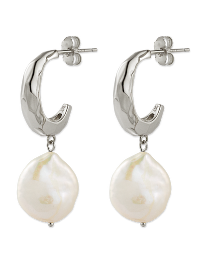 Bianc Titan Earrings w/ Freshwater Pearls - Silver - Mocha