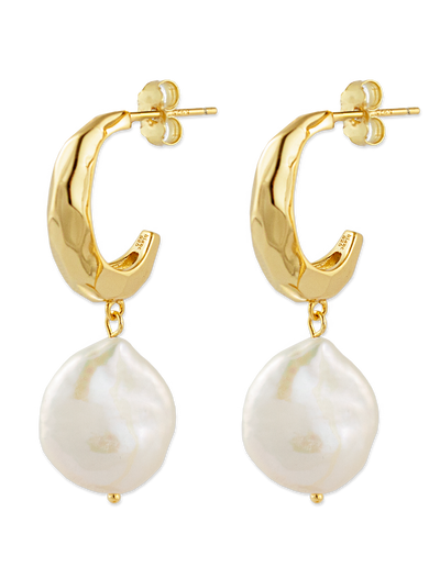 Bianc Titan Earrings w/ Freshwater Pearls - Gold - Mocha