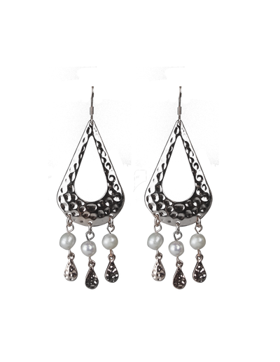 Elly Lou Palm Spring Hammered Pearl Drop Earrings - Silver - Mocha
