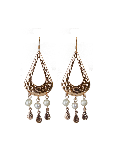 Elly Lou Palm Spring Hammered Pearl Drop Earrings - Light Gold - Mocha