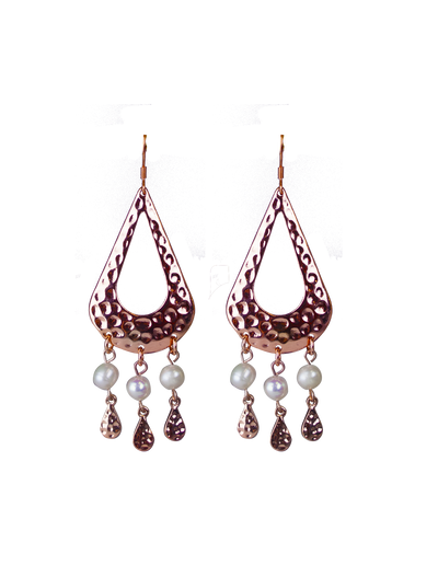 Elly Lou Palm Spring Hammered Pearl Drop Earrings - Rose Gold - Mocha