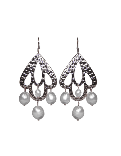 Elly Lou Palm Spring Pearl Drop Earrings - Silver - Mocha