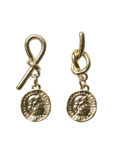 Mocha Knot Earrings w/ Coin - Light Gold - Mocha
