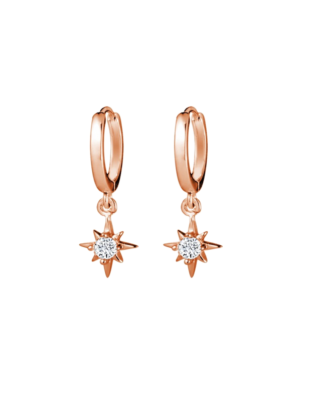 Mocha Sterling Silver Sleeper Earrings w/ CZ Star Charm - Rose Gold - Mocha