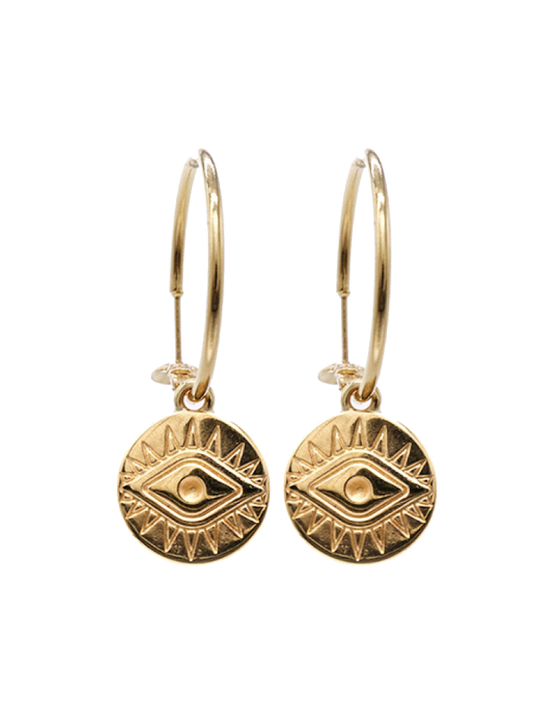 Mocha Sterling Silver Hoop Earrings w/ Evil Eye Coin - Gold - Mocha