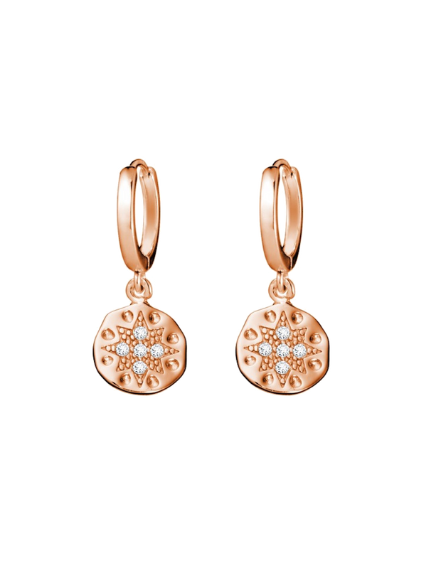 Mocha Sterling Silver Sleeper Earrings w/ Star CZ Disc - Rose Gold - Mocha