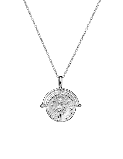 Mocha Sterling Silver Necklace w/ Medallion Pendant - Silver - Mocha