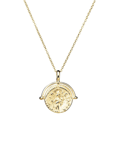 Mocha Sterling Silver Necklace w/ Medallion Pendant - Gold - Mocha
