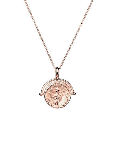 Mocha Sterling Silver Necklace w/ Medallion Pendant - Rose Gold - Mocha
