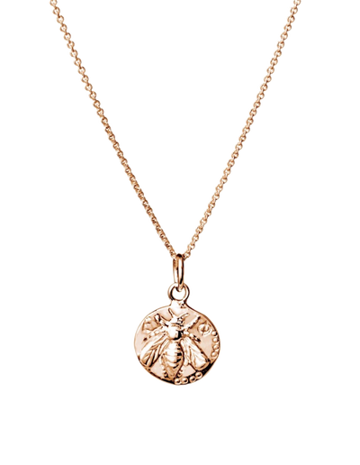 Mocha Sterling Silver Necklace w/ Bee Stamp On Coin - Rose Gold - Mocha