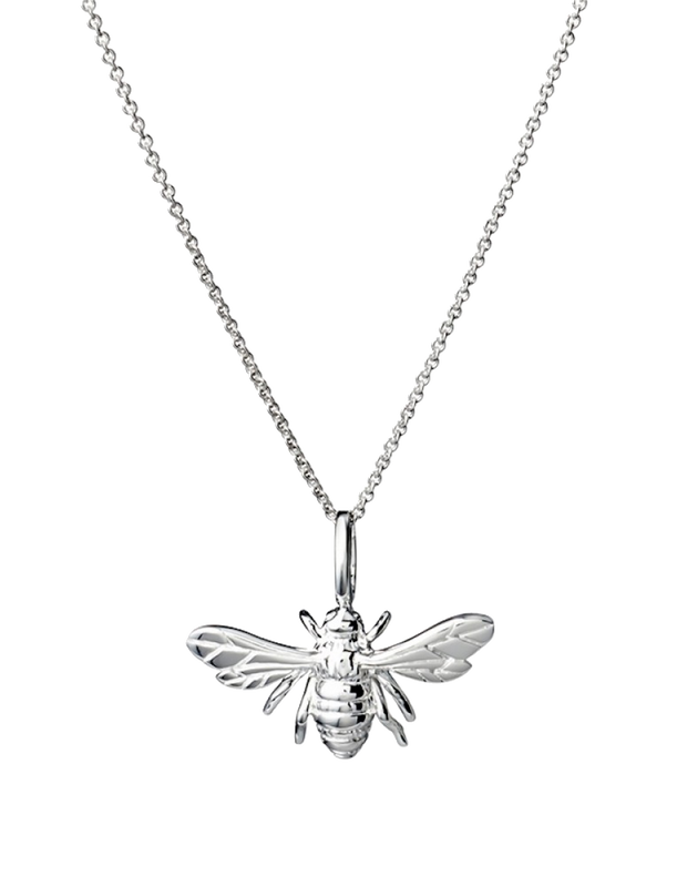 Mocha Sterling Silver Necklace w/ Bee Pendant - Silver - Mocha