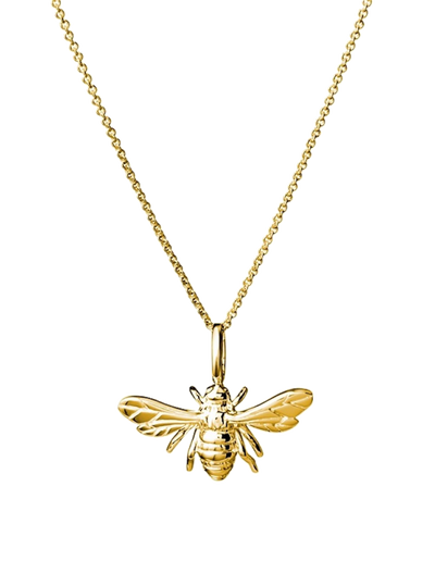 Mocha Sterling Silver Necklace w/ Bee Pendant - Gold - Mocha