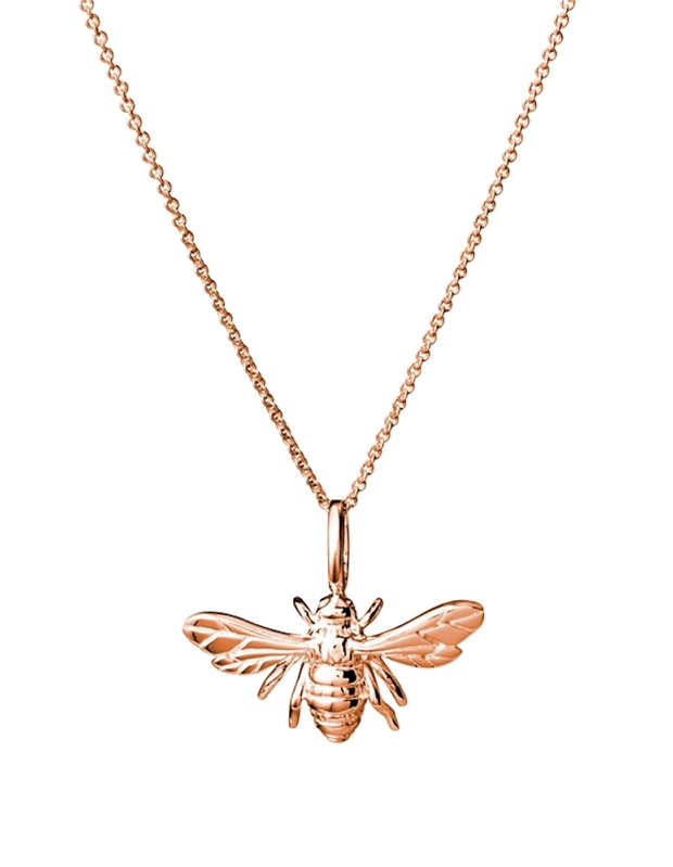 Mocha Sterling Silver Necklace w/ Bee Pendant - Rose Gold - Mocha
