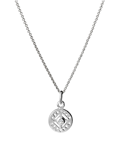 Mocha Sterling Silver Necklace w/ CZ Cut Out Pendant - Silver - Mocha