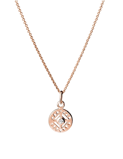 Mocha Sterling Silver Necklace w/ CZ Cut Out Pendant - Rose Gold - Mocha