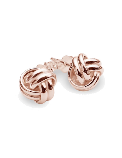Mocha Sterling Silver Knot Stud Earrings - Rose Gold - Mocha