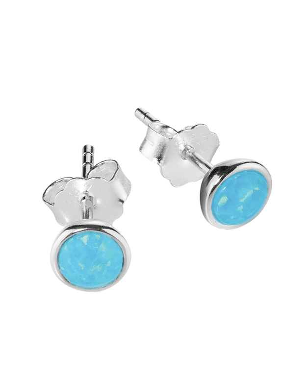 Mocha Sterling Silver Opalite Stud Earrings - Light Blue - Mocha