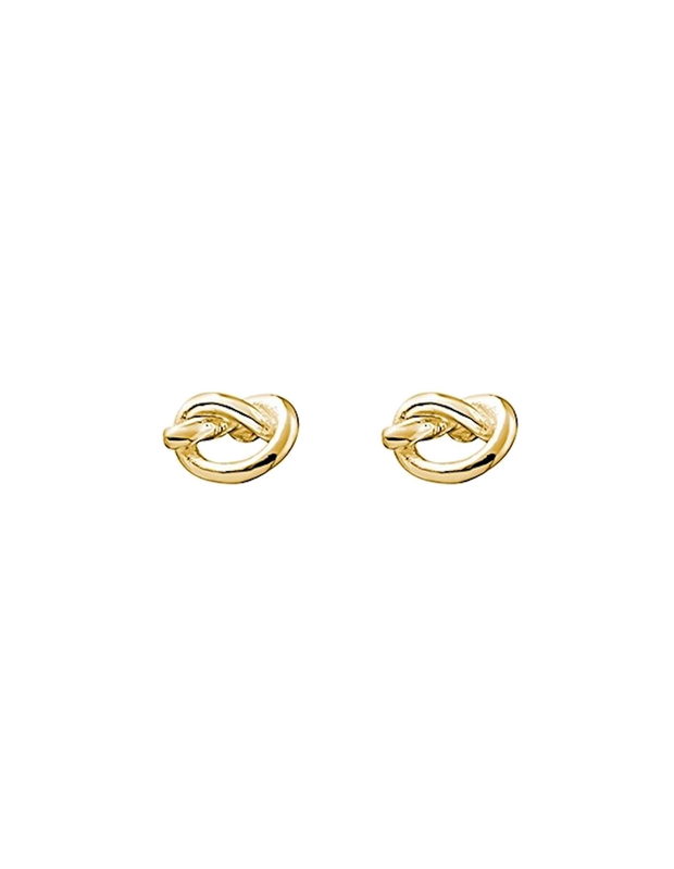 Mocha Sterling Silver Mini Knot Stud Earrings - Gold - Mocha