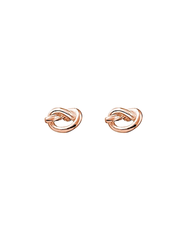 Mocha Sterling Silver Mini Knot Stud Earrings - Rose Gold - Mocha
