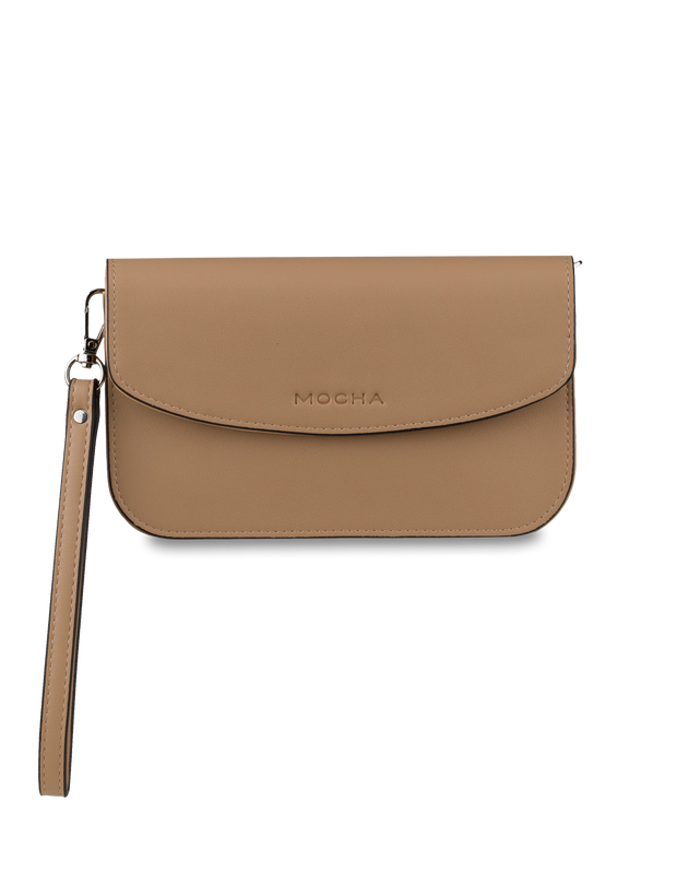 Mocha Simple Chain Clutch Bag - Tan - Mocha