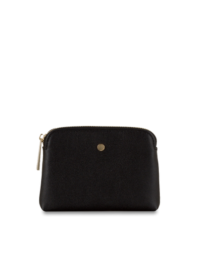 Mocha Sylvia Pebble Leather Coin Wallet - Black - Mocha