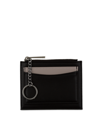 Mocha Contrast Mini Coin Wallet - Black/Grey - Mocha