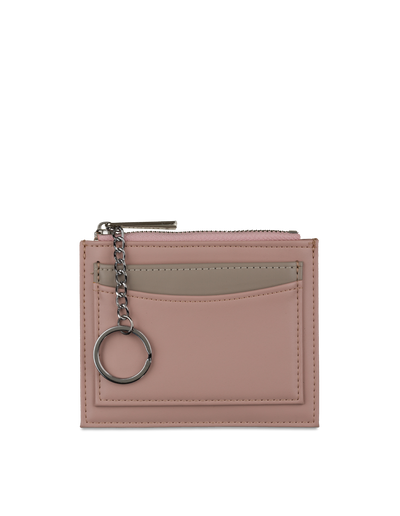 Mocha Contrast Mini Coin Wallet - Blush/Grey - Mocha