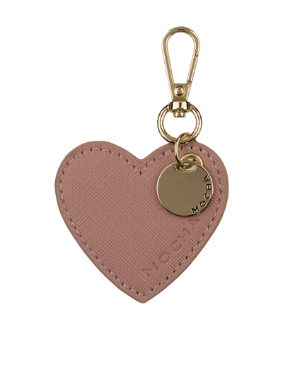 Mocha Initial Heart Keyring - Light Mauve/Light Gold - Mocha
