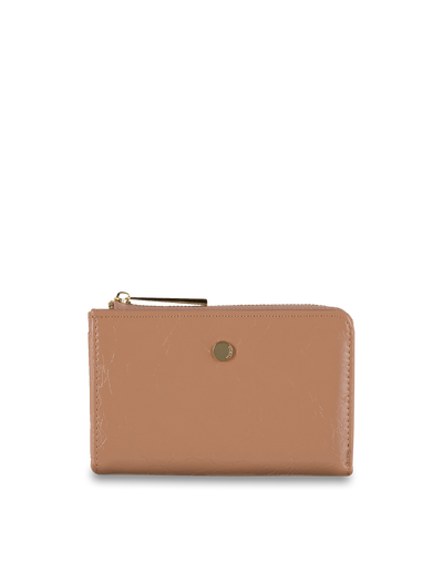 Mocha Cammy Crinkled Patent Small Wallet - Taupe - Mocha