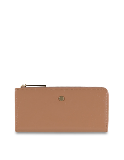 Mocha Cammy Crinkled Patent Long Wallet - Taupe - Mocha