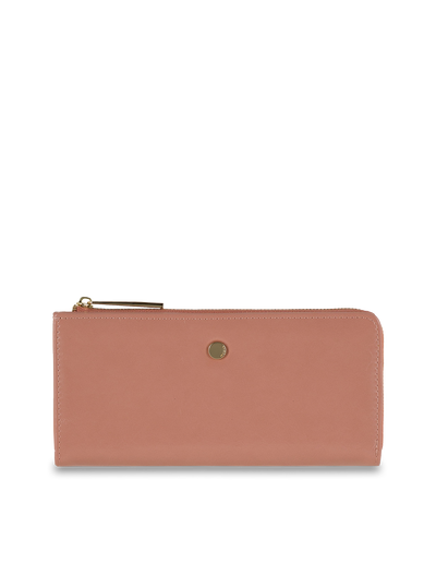 Mocha Cammy Crinkled Patent Long Wallet - Light Mauve - Mocha