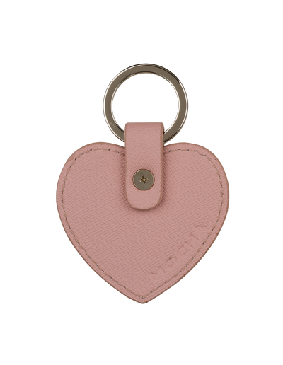 Mocha Jane Leather Heart Key Ring - Rose - Mocha