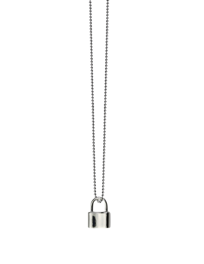 Von Treskow Fine Curb Chain Necklace w/ Mini Padlock - Sterling Silver - Mocha